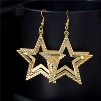 GORGEOUS GOLD  PLATED STAR DANGLE EARRINGS  XMAS LADIES GIFT