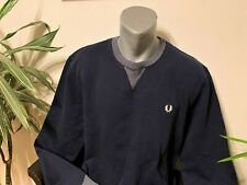 New FRED PERRY Sweatshirt Pullover Jumper Navy Blue White Mens XL With Defect