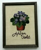 Vintage Farm House Framed Hand Stitched Flowers African Violet Wall Decor 1979