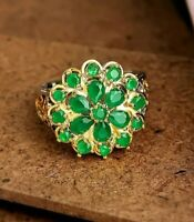 925 Sterling Silver Natural Flower Design Colombian Emerald Gemstone Luxury Ring