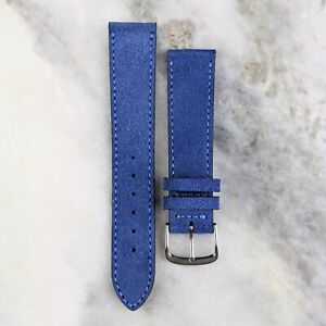 Suede Leather Watch Strap - Blue - 18mm/20mm