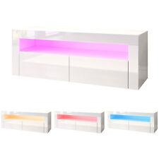 TV Lowboard Board Möbel Schrank mit LED Beleuchtung Weiß Hochglanz Fernsehtisch