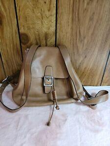 COACH Legacy Drawstring Natural Tan Brown Medium Backpack 9569 Purse Flap Snap
