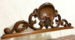 Scroll leaf shell pierced carving pediment Antique french architectural salvage