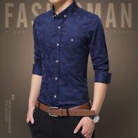 Fashion Men solid Slim Fit Shirt Long Sleeve Dress Shirts Casual Shirt Tops