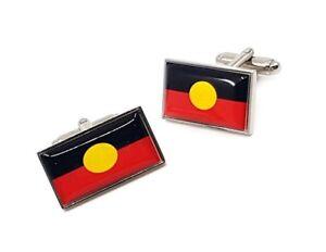 Rectangle Aboriginal Flag Cufflinks in Stainless Steel