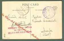 REGIA NAVE GIULIO CESARE. Guller violetto+ lineare rosso di censura su cart....