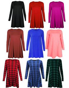 Womens Ladies Tartan Print Long Sleeve Plain Swing Skater Dress Plus Size 8-26