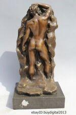 "15""Western Art sculpture Bronze Marble Nude Men Man Behind Hill Statue"