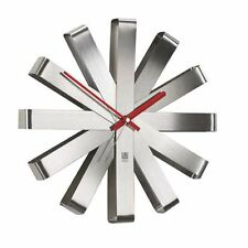 Umbra Ribbon Wall Clock - Steel Face with Red Hands