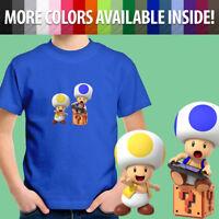 Super Mario Bros Toad Wii U Switch Gamer Toddler Kids Boy Girl Tee Youth T-Shirt