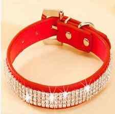 Bling Rhinestone Leather Crystal Diamond Puppy Collar Pet Dog Collars US STOCK