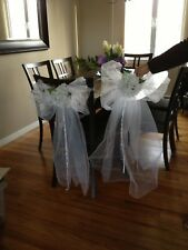 Set of 12 Wedding Church Pews Decorations.  Handmade Tulle Bows.  White and blue