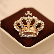 New Gold Crown Royal Retro Cross Clear Crystal Clothing Brooch Pin Gift Bag