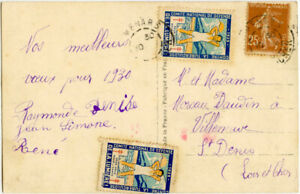 FRANCE 1929 LABELS HEALTH DEFENCE 1 TIED on PPC NEW YEAR MENARS ...CINDERELLA
