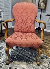 George II (circa 1750s) Walnut Carved High Back Upholstered Gentleman's Chair