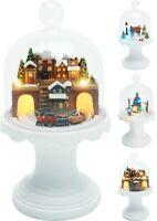 Christmas Decoration Scene - LED Illuminated Glass Dome Centerpiece Ornament