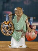 "8.2"" Chinese Handmade Porcelain Kid Money Wealth Peach Figurines Statues"