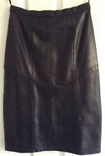 bf114b0ac9 Jacques Sac Vintage Black Leather Lined Pencil Skirt Size10 see measurements