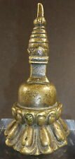 SUPERB RARE TIBETAN OLD ORIGINAL BRASS STUPA CHORTEN 120 - 170 YEARS OLD