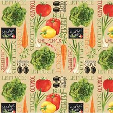 "Fresh Produce Kitchen Decor Quilting Premium 100% Cotton Fabric Remnant 21"""