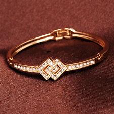 18K Gold Filled CZ Crystal Bangle Cuff Womens Fashion Bracelet + Box BL93
