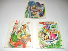3 Vtg BUILT RITE Jigsaw Puzzles QUEEN OF HEARTS - WEE WILLIE WINKIE - RUB A DUB