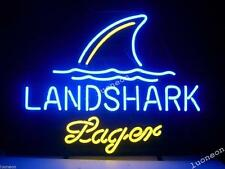 New Landshark Lager Handcrafted Beer Bar Pub Real Neon Light Sign FAST SHIPPING