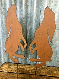 Pair Of Small Metal Rusty Effect Moon Gazing Hares For Lawn, Borders Or Pots
