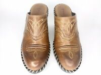 Sonora by Double H Brown Leather Embroidered Western Mules Clogs Women's 6 M