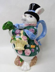 Vintage 1991 Fitz & Floyd Easter Rabbit Pitcher u006