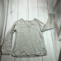 L.L. Bean Womens Henley Shirt Gray Stripe Long Sleeve Notch Neck Lightweight S