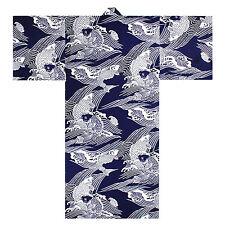 "Japanese Robe Yukata Kimono Men's Jumping Carp Koi Design 58"""