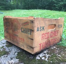 RARE Vintage RED CHIEF TOMATOES Boston MA Indian Logo Wooden Crate Sign