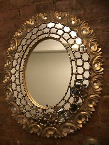 """Italian Hand-carved Reticulated Giltwood 22"""" 28"""" Oval Mirror Openwork Multi"""