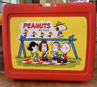 Vintage Red Plastic Peanuts Thermos Lunch Box