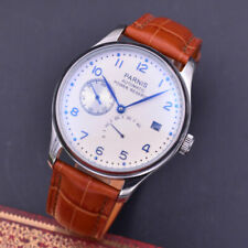 43mm Parnis White Dial Brown Strap Power Reserve ST2530 Automatic Mens Watch