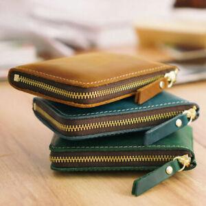 Handmade Cowhide Leather Vintage Zipper Men Wallet Square Coin Purse Card Holder