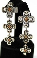 "Vintage Signed Sterling Silver Copper Triple Cross Dangling Earrings  2.25""h"