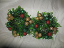 2 Vintage Plastic Evergreen Christmas Candle Wreath Bases With Glitter Balls