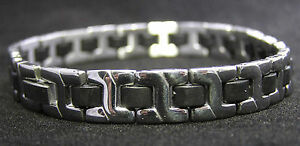 Stainless steel H-Link with Resin bracelet in Black leather pouch