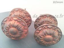 Superbe ancienne paire poignées ronde rosace fonte 80mm porte entrée