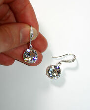 Vintage single drop Austrian crystal bridal party sparkle dangle silver earring