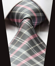 TC3012K8 Pink Gray Check Silk Classic Jacquard Woven 3.4'' Man's Tie Necktie