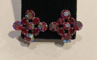 Vintage Red Aurora Borealis Rhinestone Clip Earrings Silver Tone