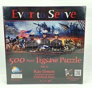 Ever To Serve US Marine 500 Piece Puzzle By Sunsout ~ 12x36 ~ New