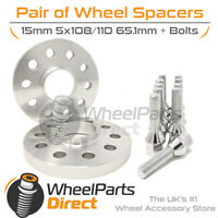 Wheel Spacers (2) & Bolts 15mm for Peugeot 407 04-10 On Aftermarket Wheels