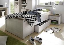 Bett Luca, Bettgestell + 1 Schubkasten, Einzelbett, Pinie Weiß, 90x200 cm