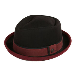 Edward Two Tone Felt Porkpie Winter Mens Womens Retro Black, Brown, Navy, Hat