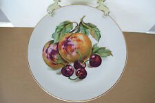 "Czeckoslovakia Bohemian Fruit Design Gold Trim 7 1/4"" Plate Peach & Cherry"